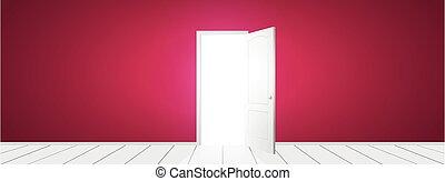 aperto, vettore, porta