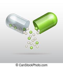 apertura, capsula, medico, verde