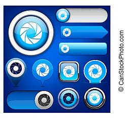 apertura, web, bottone, high-detailed, collection.
