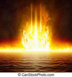 apocalittico, fine, cielo, regno, scuro, ardendo, inferno, mondo, rosso