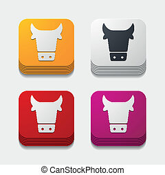 app, agricoltura, concept:, mucca