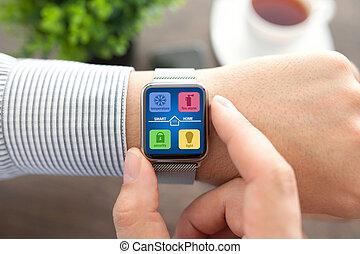 app, orologio, mani, casa, schermo, far male, uomo