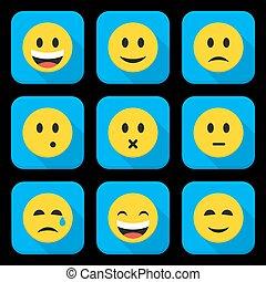 app, quadrato, giallo, set, icona, facce sorridenti
