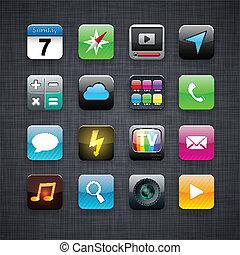 app, quadrato, moderno, icons.