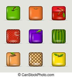 app, vettore, set, icons-fruits