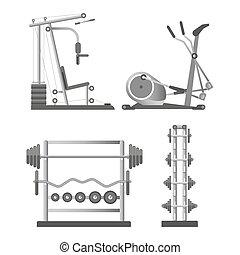 apparati, addestramento, set, leva piedi, pesi, illustrazioni