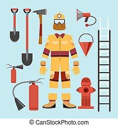apparecchiatura, appartamento, pompiere, attrezzi, uniforme
