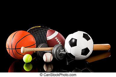 apparecchiatura, assortito, nero, sport
