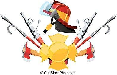 apparecchiatura, attrezzi, pompiere