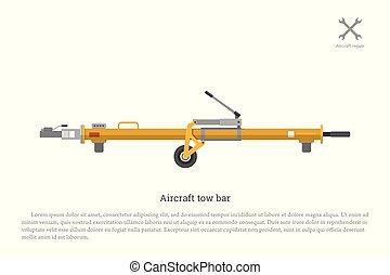 apparecchiatura, aviazione, manutenzione, bar., aereo, rimorchio, riparazione