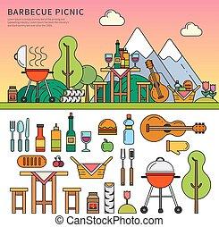 apparecchiatura, differente, picnic