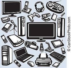 apparecchiatura, elettronica, set, icona, computer