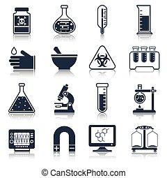 apparecchiatura, laboratorio, nero, icone