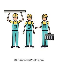 apparecchiatura, lavorante, costruzione