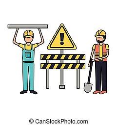 apparecchiatura, lavoratore costruzione