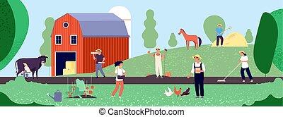 apparecchiatura, life., lavoro, organico, agricoltura, illustrazione, vettore, natura, contadino, lavorante, agricoltura, agricolo, appartamento