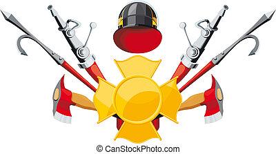 apparecchiatura, lotta incendio, emblema