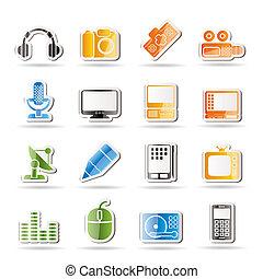 apparecchiatura, media, icone