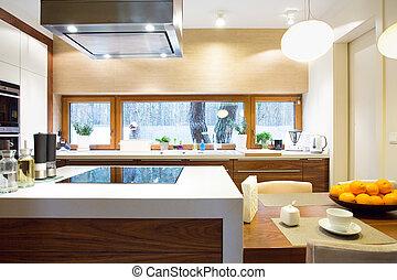 apparecchiatura, moderno, lusso, cucina
