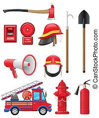apparecchiatura, set, antincendio, icone