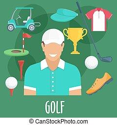 apparecchiatura, sport, golf, professione, equipaggiamento