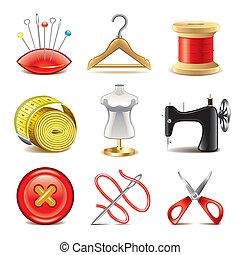 apparecchiatura, vettore, set, cucito, icone