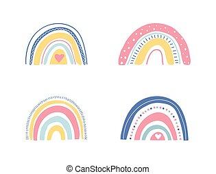 apparel., arcobaleni, pastello, illustrazione, set., cartone animato, carta da parati, involucro, arcobaleno, shower., tessuto, carino, unico, vettore, colors., disegnato, bambini, collezione, mano bambino, bello, vivaio