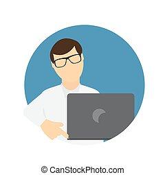 appartamento, affari, laptop, communi, wth, computer, trendy, style., uomo