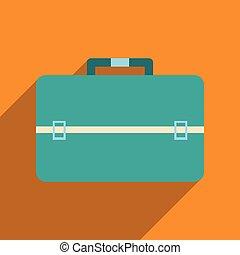 appartamento, affari, lungo, borsa, uggia, icona