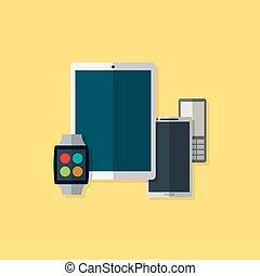 appartamento, aggeggio, illustrazione, vettore, icons., style.
