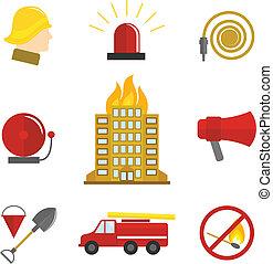 appartamento, antincendio, icone