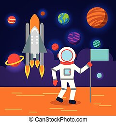 appartamento, astronauta, sistema, solare