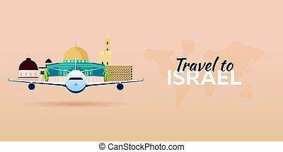 appartamento, attractions., israel., viaggiare, banners., vettore, aeroplano, style.