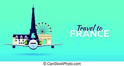appartamento, attractions., viaggiare, banners., france., vettore, aeroplano, style.