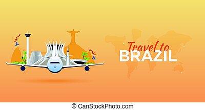 appartamento, attractions., viaggiare, banners., vettore, aeroplano, brazil., style.
