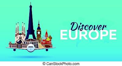 appartamento, attractions., viaggiare, banners., vettore, aeroplano, europe., style.