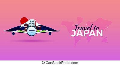 appartamento, attractions., viaggiare, banners., vettore, aeroplano, japan., style.