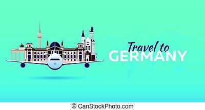 appartamento, attractions., viaggiare, banners., vettore, aeroplano, style., germany.