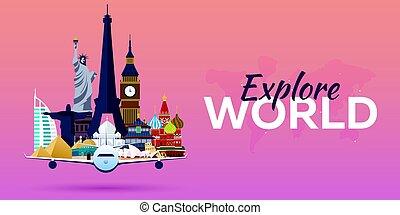 appartamento, attractions., viaggiare, banners., vettore, aeroplano, world., style.