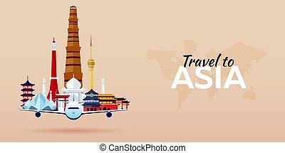 appartamento, attractions., viaggiare, banners., vettore, asia., aeroplano, style.