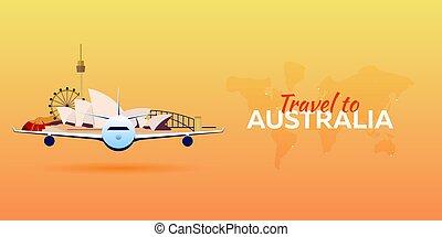 appartamento, attractions., viaggiare, banners., vettore, australia., style., aeroplano