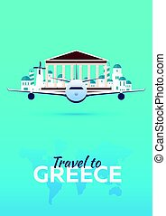 appartamento, attractions., viaggiare, banners., vettore, greece., style., aeroplano