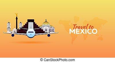 appartamento, attractions., viaggiare, banners., vettore, .mexico, aeroplano, style.