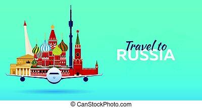 appartamento, attractions., viaggiare, banners., vettore, russia., aeroplano, style.