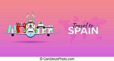 appartamento, attractions., viaggiare, banners., vettore, spain., aeroplano, style.