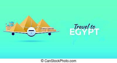 appartamento, attractions., viaggiare, egypt., banners., vettore, aeroplano, style.