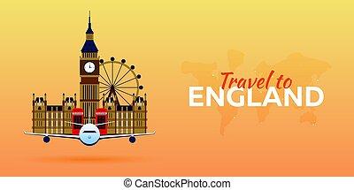 appartamento, attractions., viaggiare, england., banners., vettore, aeroplano, style.