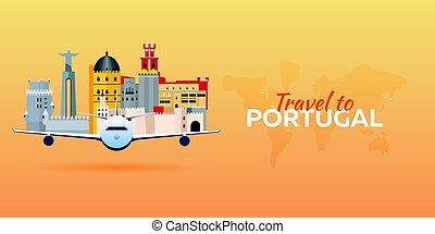 appartamento, attractions., viaggiare, portugal., banners., vettore, aeroplano, style.