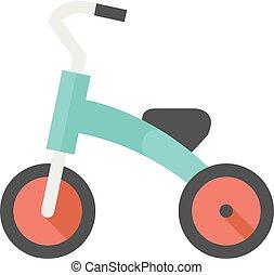 appartamento, bambini, -, icona, triciclo