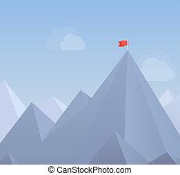 appartamento, bandiera, picco, illustrazione, montagna